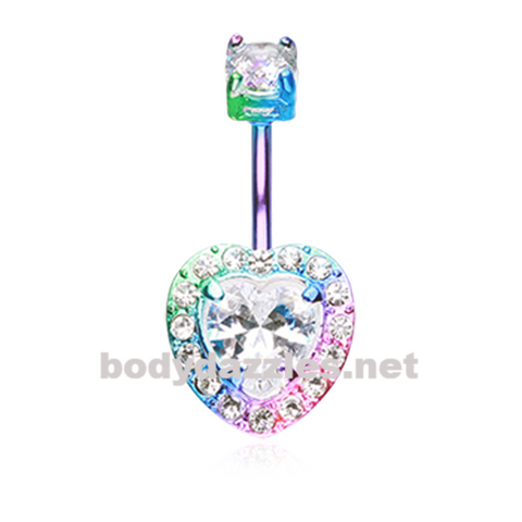 Colorline Brilliant Heart Sparkle Belly Button Ring Stainless Steel Body Jewelry - BodyDazzle