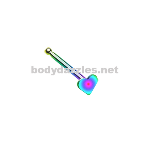 Rainbow Colorline Steel Heart Nose Stud Ring 20ga Body Jewelry