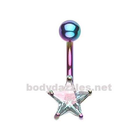 Rainbow Colorline Star Prong Sparkle Belly Button Ring Stainless Steel Body Jewelry - BodyDazzle