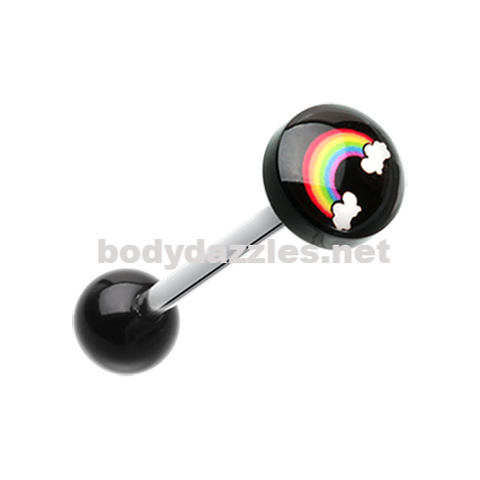 Rainbow Logo Acrylic Barbell Tongue Ring 14ga Surgical Steel