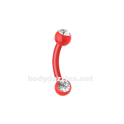 Red Gem Ball Flexible Shaft Curved Barbell  Eyebrow Ring  Rook Daith Ring 16ga Body Jewelry - BodyDazzle