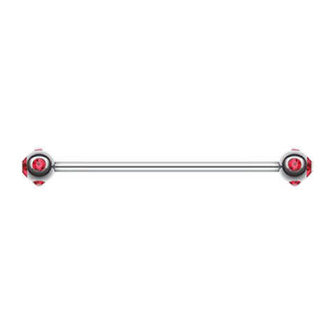Red Gem Ball Industrial Barbell 14ga Surgical Stainless Body Jewelry - BodyDazzle