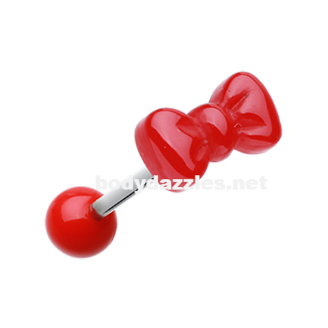 Red Bow Tie Acrylic Barbell Tongue Ring  14ga Surgical Steel - BodyDazzle