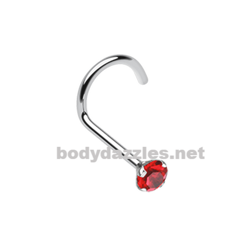 Red Prong Set Gem Top Steel Nose Screw Ring 20ga Body Jewelry