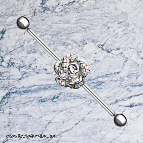Gleaming Rose Industrial Barbell 14ga Scaffold Piercing Barbell - BodyDazzle - 1