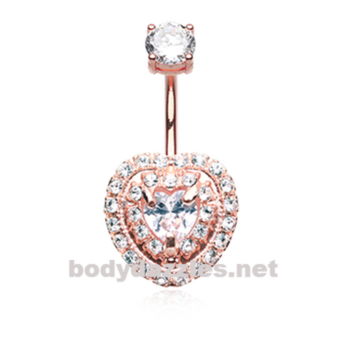 Rose Gold Brilliant Heart Sparkle Belly Button Ring Surgical Steel Body Jewelry - BodyDazzle
