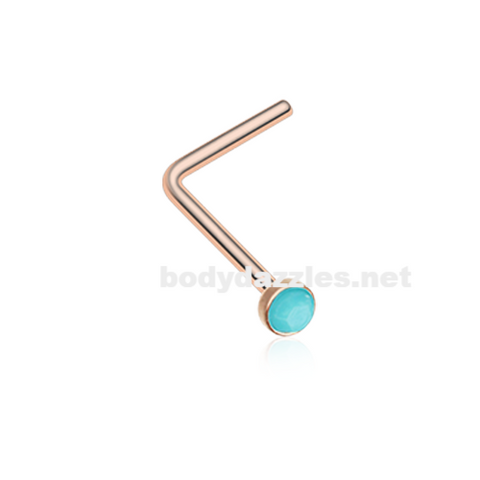 Rose Gold Turquoise Stone Nose Stud Ring Nose Ring Nose L Bend 20ga Body Jewelry - BodyDazzle