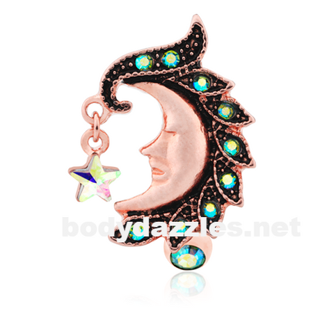 Rose Gold Heavenly Moon Face Reverse Drop Top Belly Button Ring 14ga Navel Ring Body Jewelry - BodyDazzle