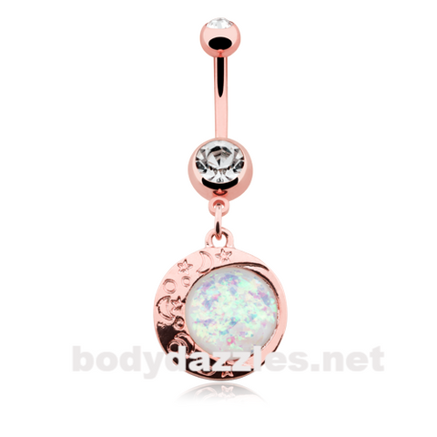 Rose Gold Eclipse Sun Opal Moon Belly Button Ring 14ga Navel Ring - BodyDazzle