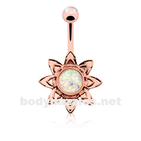 Rose Gold Blooming Opal Flower Belly Button Ring14ga Navel Ring - BodyDazzle