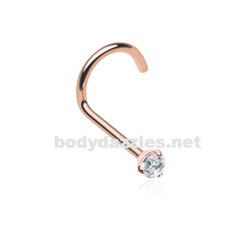 Rose Gold Prong Set Gem Top Steel Nose Screw Ring 20ga Body Jewelry