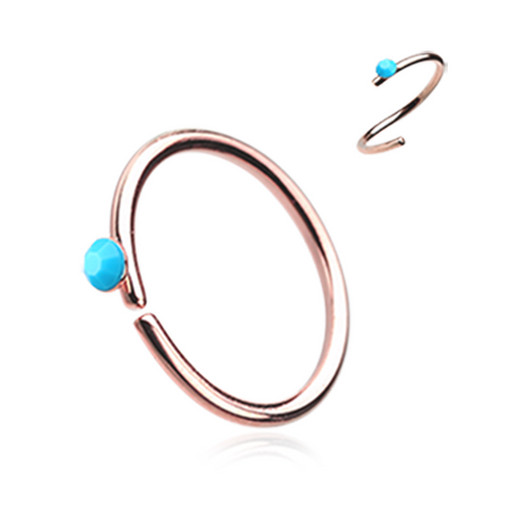 Rose Gold and Turquoise Bendable Nose Ring Nose Hoop  20ga Body Jewelry Steel - BodyDazzle