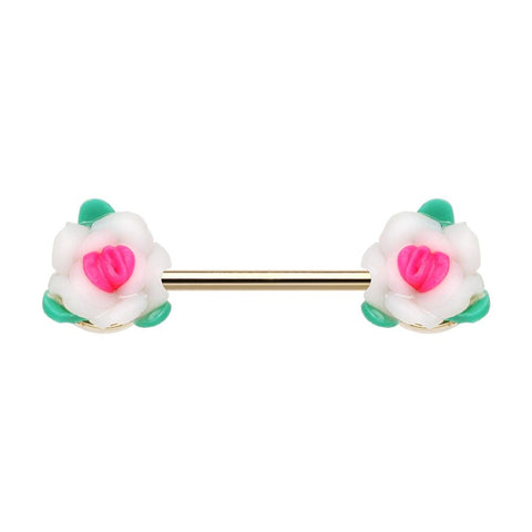 Set of Pastel Roses Flower Nipple Barbell Ring 14ga Nipple Rings
