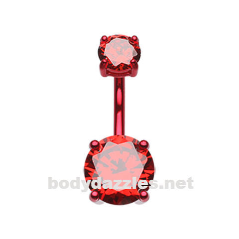 Red Colorline Gem Prong Sparkle Belly Button Ring Stainless Steel Body Jewelry - BodyDazzle