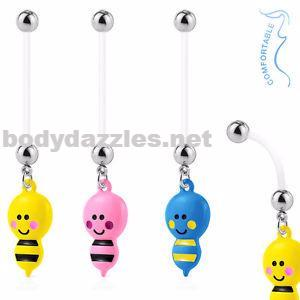 Bumble bee Dangle Pregnancy Belly Rings Bioflex with 316L Surgical Steel Balls