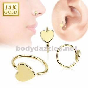 Heart 14 Karat Solid Yellow Gold Hoop Ring 20ga