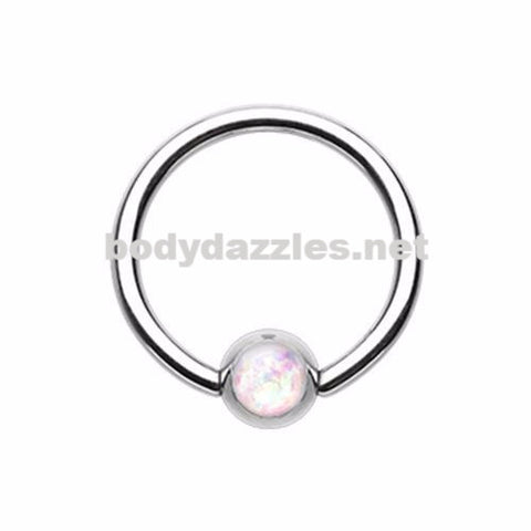 White Synthetic Opal Ball Steel Captive Bead Ring 16ga Cartilage Tragus Daith Helix Rook