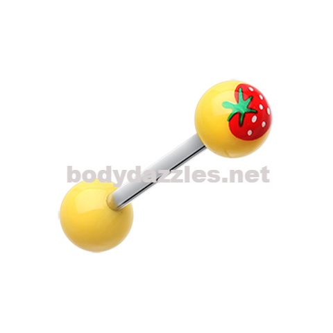 Yellow Strawberry Acrylic Top Barbell Tongue Ring 14ga Surgical Steel
