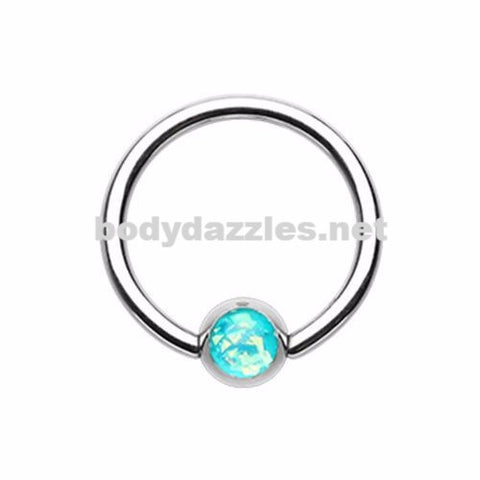 Teal Synthetic Opal Ball Steel Captive Bead Ring 16ga Cartilage Tragus Daith Helix Rook