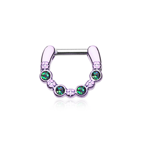 Colorline Aurea Sparkle Septum Clicker 16ga 14ga Septum Ring Body Jewelry - BodyDazzle