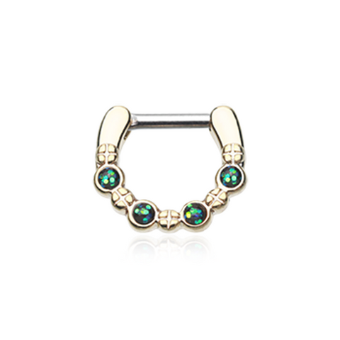 Golden Colorline Aurea Sparkle Septum Clicker 16ga 14ga Septum Ring Body Jewelry - BodyDazzle