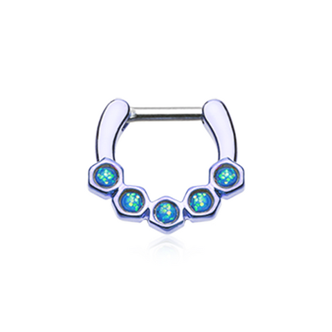 Colorline Opal Hexa Gemina Septum Clicker 14ga 16ga Body Jewelry Nose Ring - BodyDazzle - 2