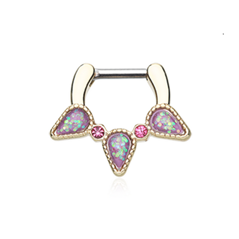 Golden Opal Sparkle Trident Septum Clicker 14ga 16ga Body Jewelry Nose Ring - BodyDazzle