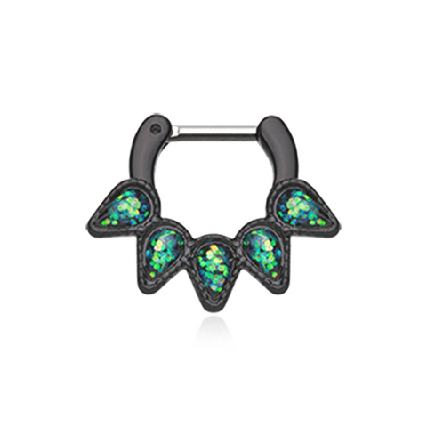 Black Colorline Green Opal Quinary Spear Septum Clicker 14ga 16ga Body Jewelry Nose Ring - BodyDazzle