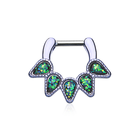 Colorline Green Opal Quinary Spear Septum Clicker 14ga 16ga Body Jewelry Nose Ring - BodyDazzle