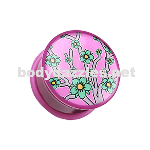 Pair of Pink Flower Single Flared Ear Gauge Plug Body Jewelry - BodyDazzle