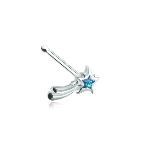 Wishing Opal Shooting Star Nose Stud Ring Nose Bone 20ga Body Jewelry - BodyDazzle