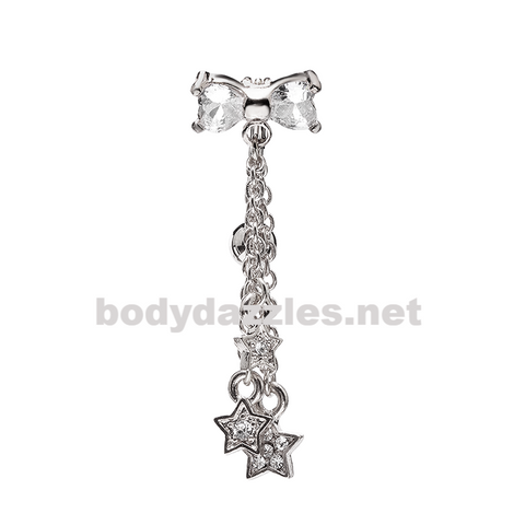 Silver Reversible Drop Down CZ Bow Stars Belly Button Ring Stainless Steel Body Jewelry - BodyDazzle