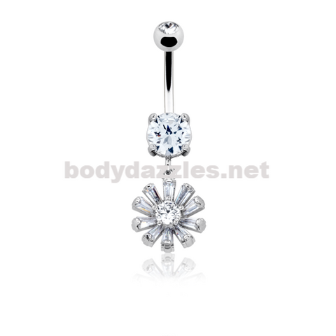 Glistening Rising Sun Belly Button Ring Navel Ring 14ga Surgical Steel