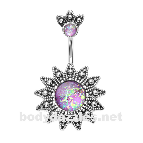 Antique Opal Sunburst Belly Button Ring 14ga Navel Ring Body Jewelry - BodyDazzle