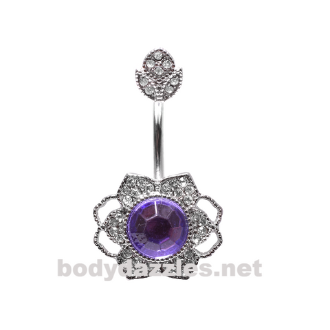 Antique Georgian Flower Belly Button Ring Stainless Steel Body Jewelry - BodyDazzle