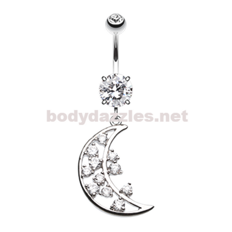 Twinkling Moon Belly Button Ring Navel Ring 14ga Surgical Steel
