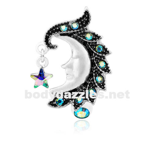 Heavenly Moon Face Reverse Drop Top Belly Button Ring 14ga Navel Ring Body Jewelry - BodyDazzle