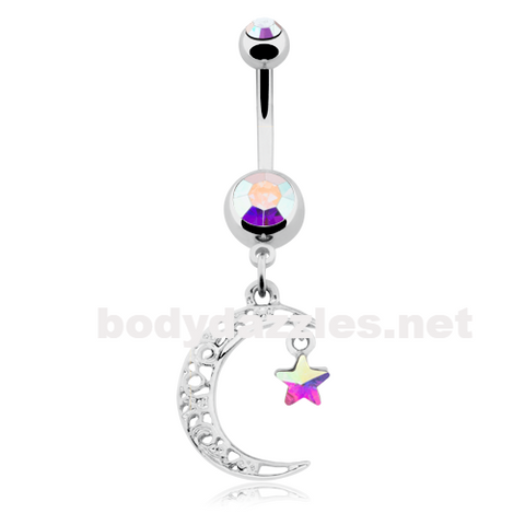 Filigree Moon Star Sparkle Belly Button Ring Navel Ring 14ga - BodyDazzle
