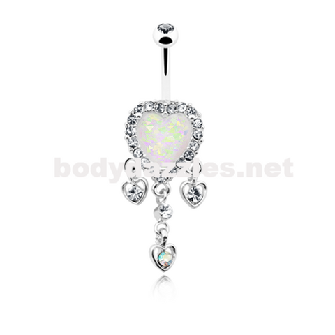 Beloved Heart Opal Dangle Belly Button Ring 14ga Navel Ring Body Jewelry - BodyDazzle
