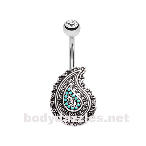 Boho Paisley Turquoise Belly Button Ring 14ga Navel Ring - BodyDazzle