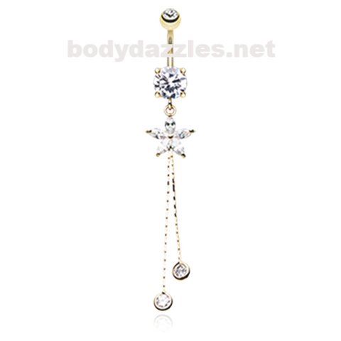 Golden Flower Sparkle Belly Button Ring Ring Navel Ring 14ga Surgical Steel