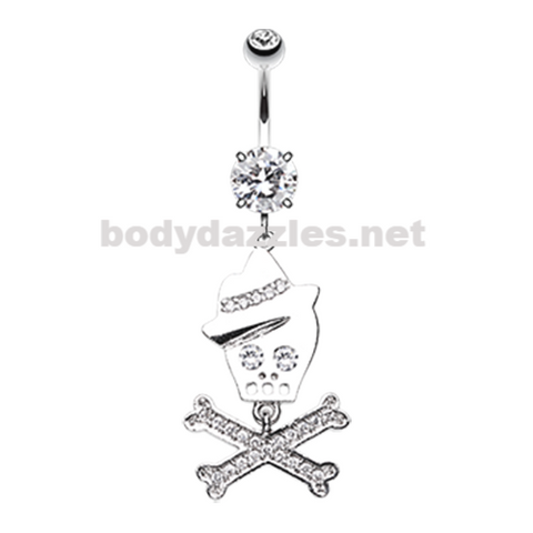 Fedora Skull & Crossbones Sparkle Belly Button Ring Navel Ring 14ga Surgical Steel