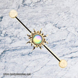 Golden Sun Sparkling Industrial Barbell 14ga Scaffold Piercing Barbell - BodyDazzle - 1