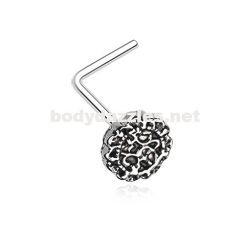Silver Mandela Filigree Icon L-Shaped Nose Ring 20ga Body Jewelry - BodyDazzle