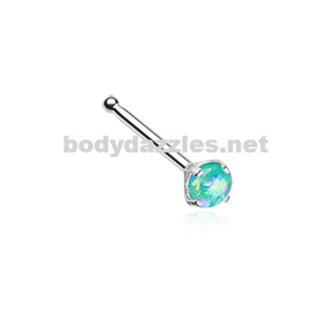 Teal Opal Sparkle Prong Set Nose Stud Ring Nose Bone Body Jewelry 20ga