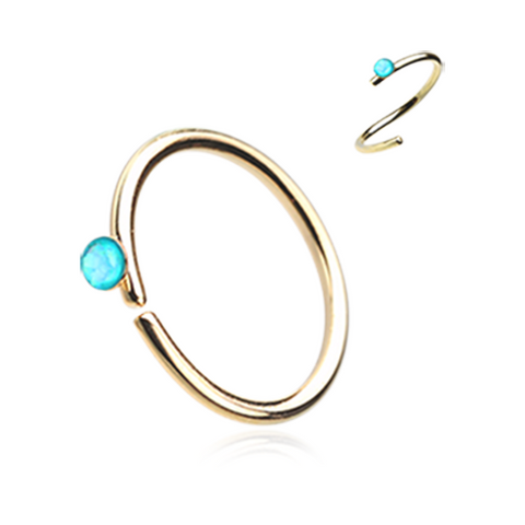 Gold Teal Opal Bendable Nose Ring Nose Hoop  20ga Body Jewelry Steel - BodyDazzle