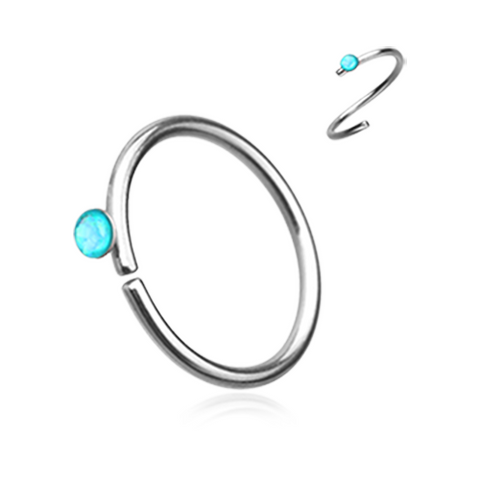 Teal Opal Bendable Nose Ring Nose Hoop  20ga Body Jewelry Steel - BodyDazzle