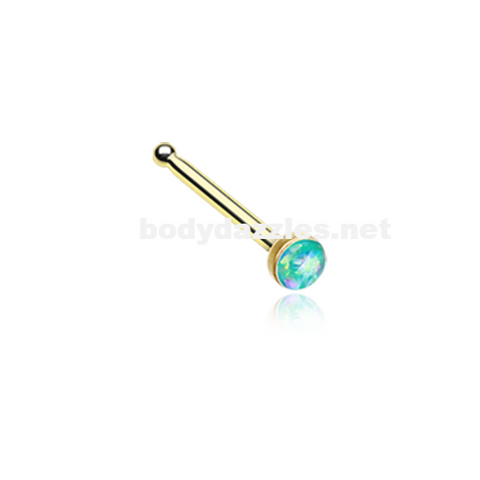 Gold Teal Opal Sparkle Nose Stud Ring Nose Ring  20ga Body Jewelry Surgical Steel - BodyDazzle