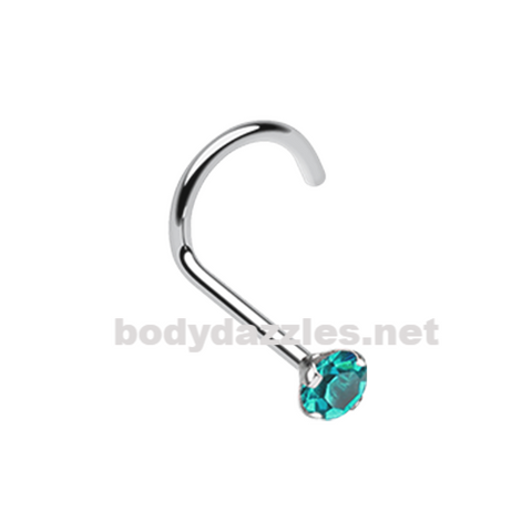 Teal Prong Set Gem Top Steel Nose Screw Ring 20ga Body Jewelry