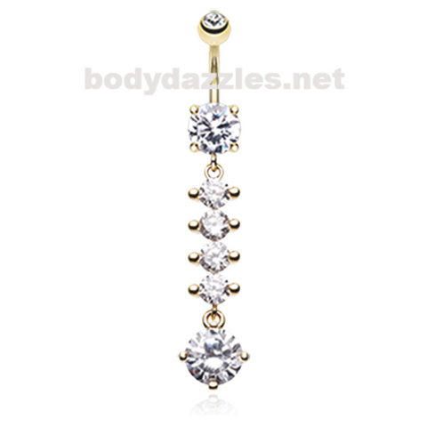 Golden Classy Multi-Gem Sparkle Belly Button Ring Navel Ring 14ga Surgical Steel